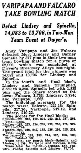 Varipapa and Falcaro Take Bowling Match - Feb 16, 1931