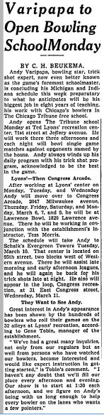 Varipapa to Open Bowling School - March 3, 1942