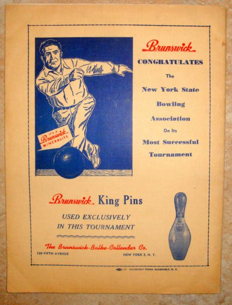 Ad for Brunswick Pins - 1948 NY State Championships
