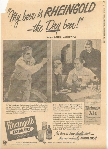 Rheingold Beer - NY Daily News, 1950